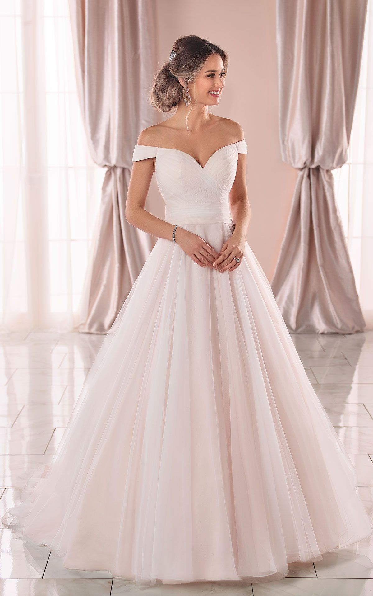 Romantic Ruching Ballgown With Off The Shoulder Straps Stella York Wedding Dresses Stella York Wedding Dress York Wedding Dress Tulle Wedding Dress