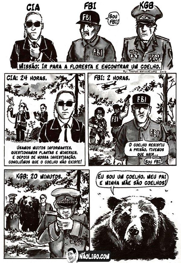 Diferença entre CIA, FBI e KGB   Zueira   Funny images, Funny
