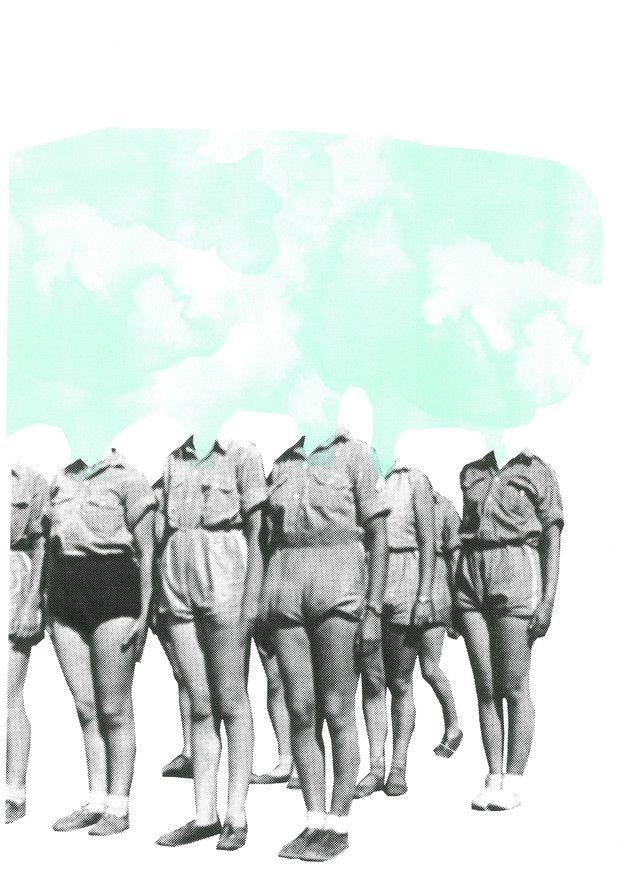 Siebdruck - FRAUENBUND Siebdruck Collage A3 Wolke/ Pastell - ein Designerstück von Morkebla bei DaWanda