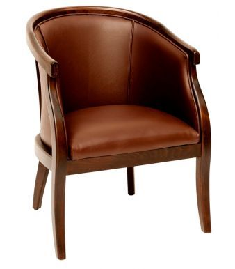 Brown Faux Leather Tub Chair In A Traditional Desk With Solid Beech Frame  Stained To A Walnut Finish