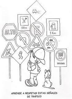 Dibujos para colorear de educación vial | Безопасност на