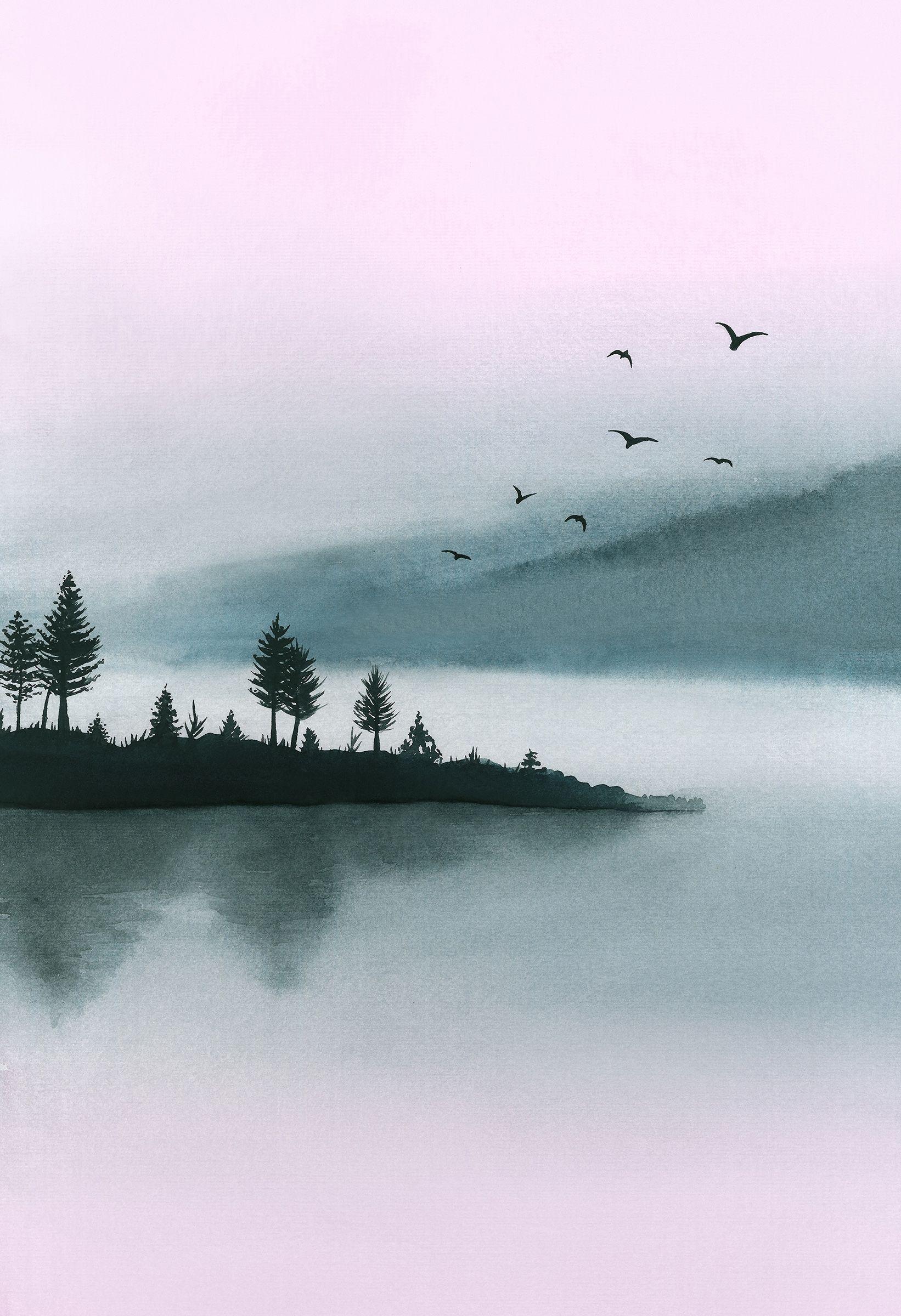 Watercolor Printable Art Landscape Modern Print Lake Large Wall