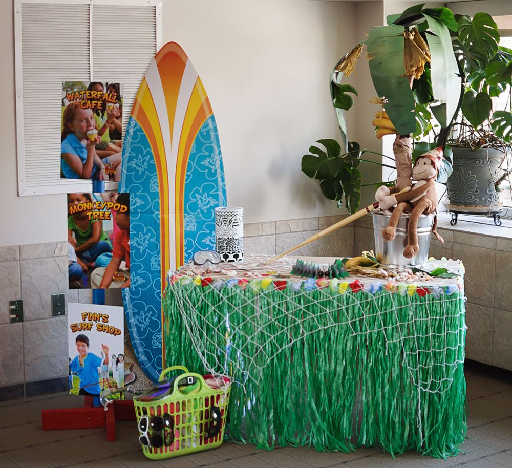 Party Island Beach: Sample Decor For Destination Paradise VBS. The Surfboard