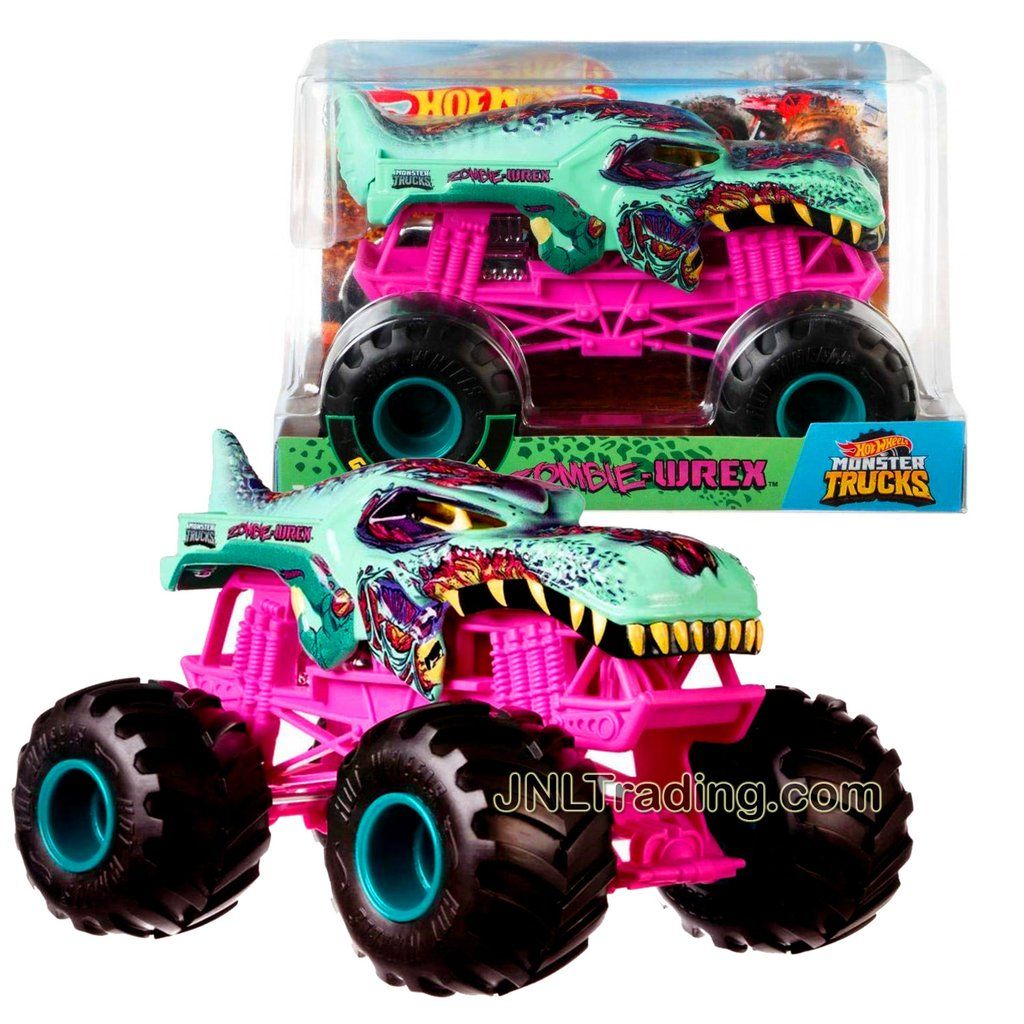 Hot Wheels Year 2018 Monster Jam 1 24 Scale Die Cast Metal Body Official Monster Truck Series Zombie Wrex Fyj95 With Monster Tires Working Suspension And 4 W Monster Trucks Hot Wheels Monster Jam