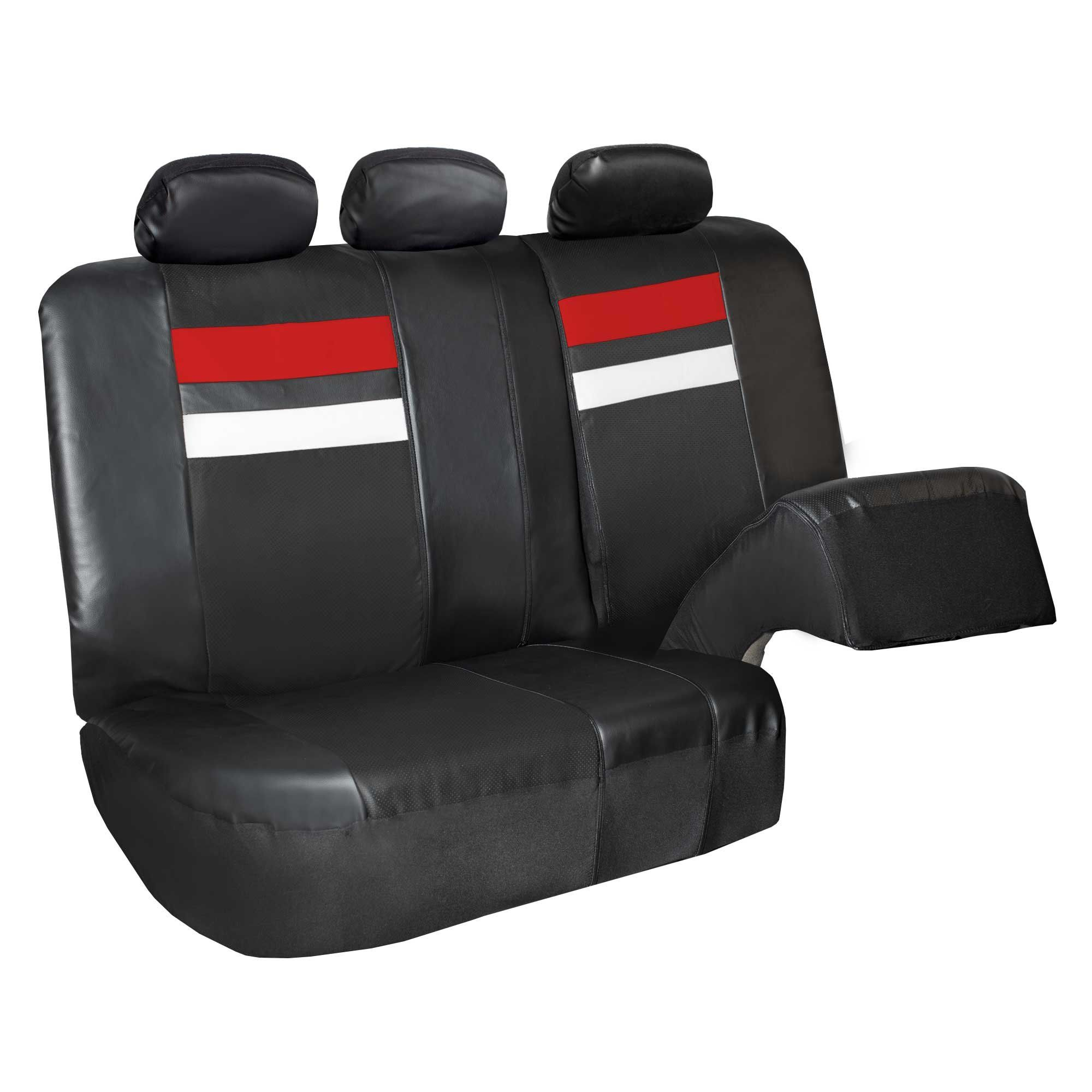 Gray FH Group PU008115 Highest Grade Faux Leather Seat Covers Universal Fit Full Set with Gift