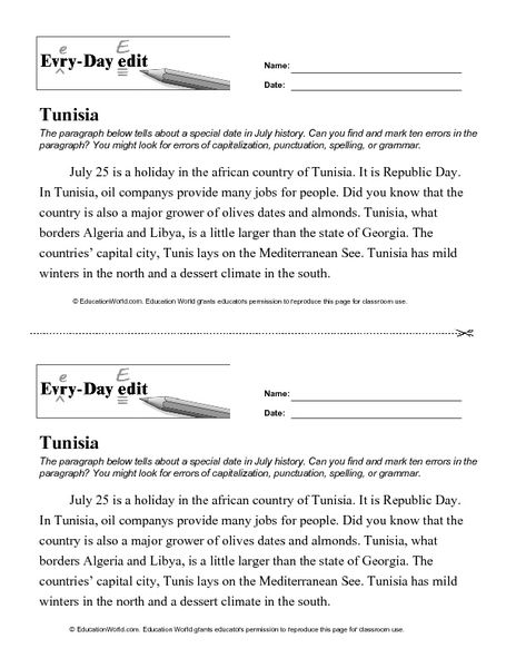 Every Day Edit - Tunisia Worksheet | Lesson Planet | teaching ...