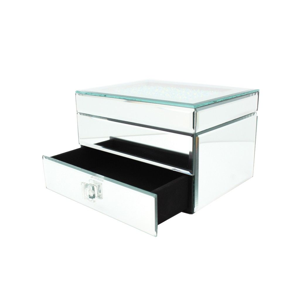 Danielle Creations Medium Crystal Top Mirrored Jewelry Box w Drawer
