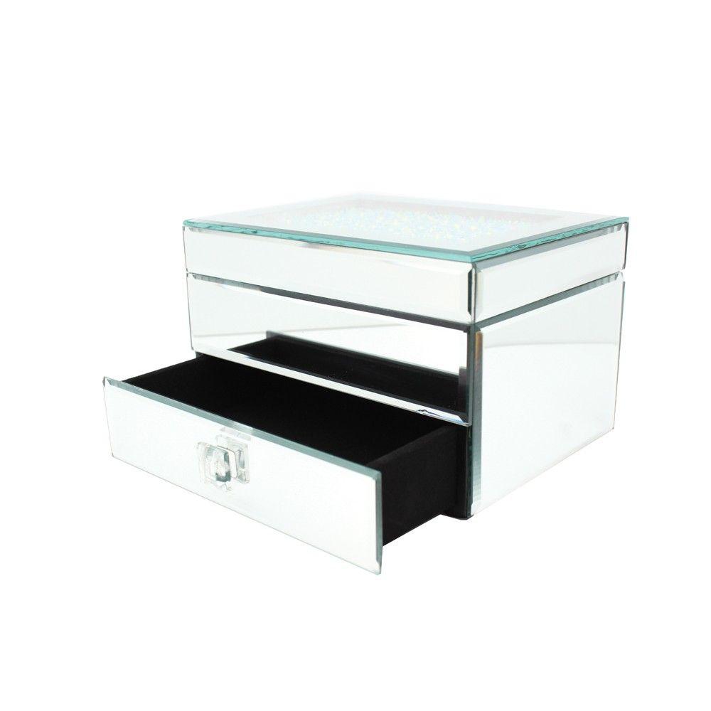 Danielle Creations Medium Crystal Top Mirrored Jewelry Box w Drawer