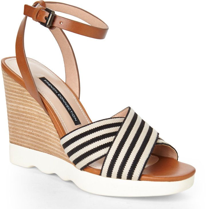 847203828ff9 FRENCH CONNECTION Natural   Black Jane Wedge Sandals