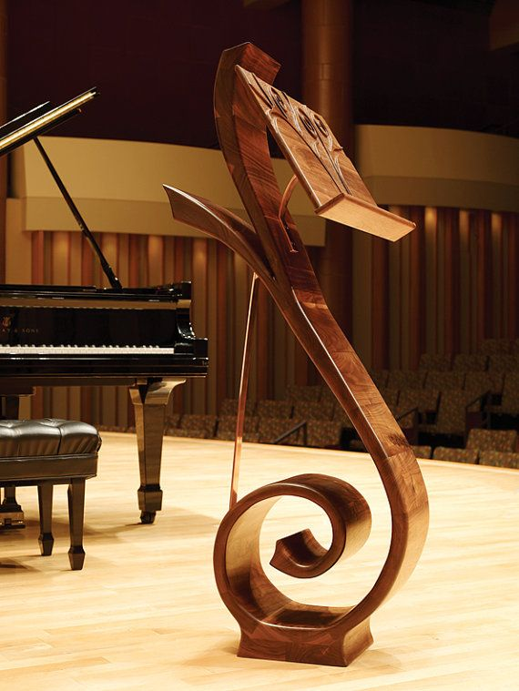 Curved Music Stand in Walnut by ThreeElementsStudios on