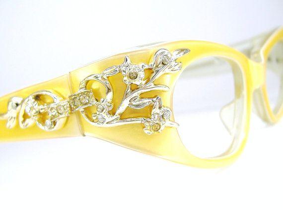 Vintage Yellow Cat eye Glasses French Eyewear Frame NOS