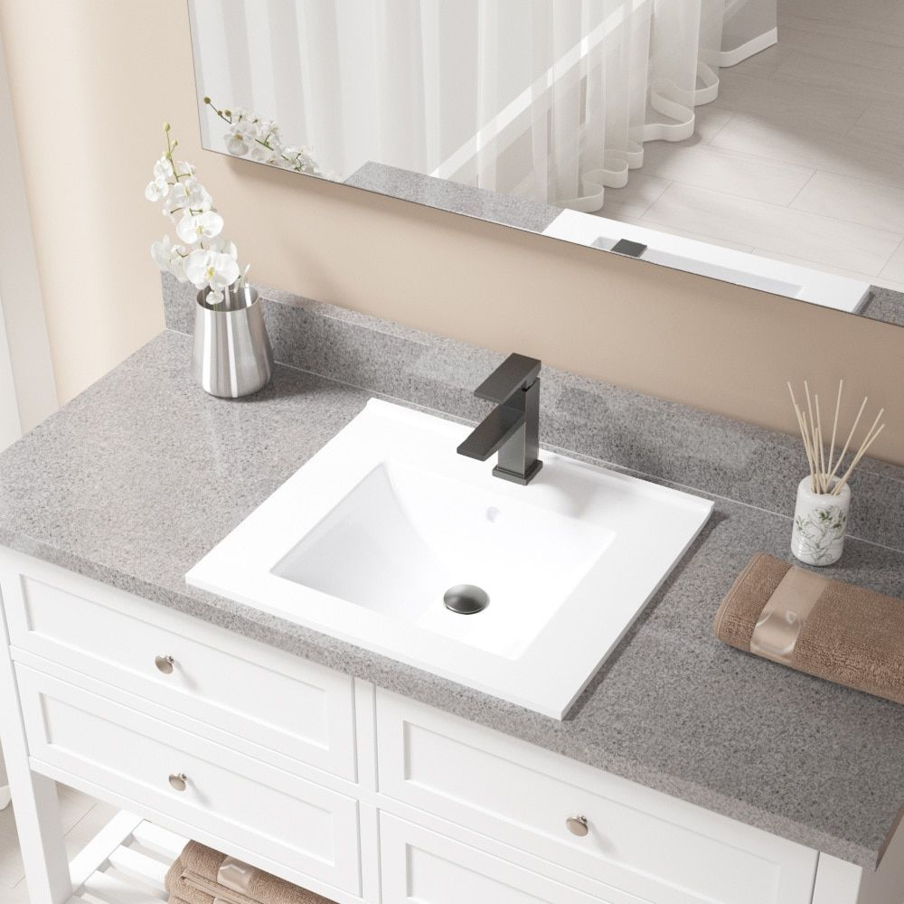 MR Direct White Porcelain Sink with Antique Bronze Faucet and Pop-up ...