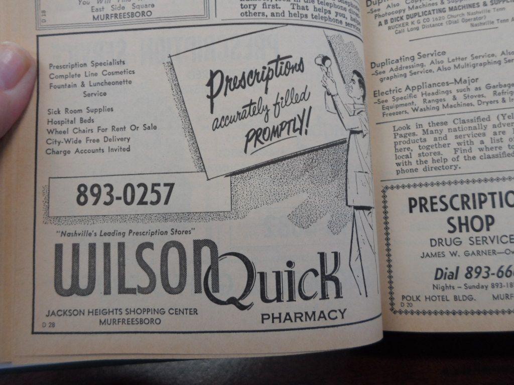 1961 Murfreesboro Telephone Directory Rutherford county