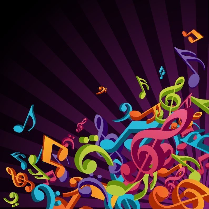 Music 3D Colorful Music Vector Background Free Vector Graphics