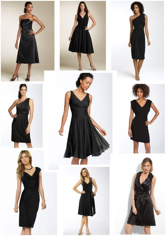 Mix And Match Black Bridesmaids Dresses With Bright Colored Shoes Necklaces Shawls