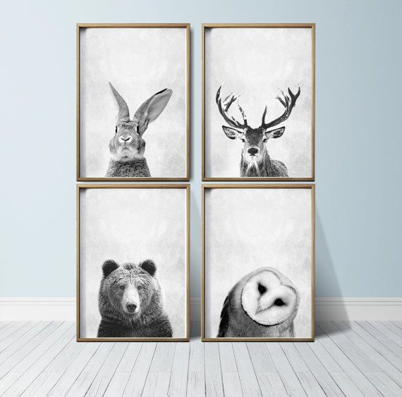 Nursery Wall Art Woodland Decor By Printeclipse