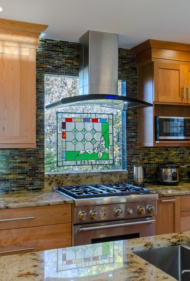 Backsplash Ideas Multi Colored Tile Thermal Window With Stain Gl Piece To Bring