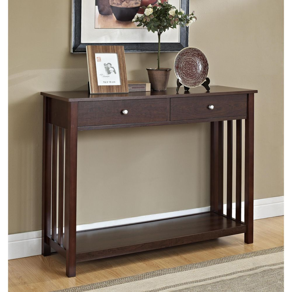 Mission style espresso console sofa table with drawer sofa mission style espresso console sofa table with drawer geotapseo Images
