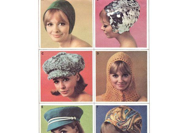 1960s Hat Pattern, McCall\'s 8601, Mod Beret, Newsboy, Crochet Hood ...