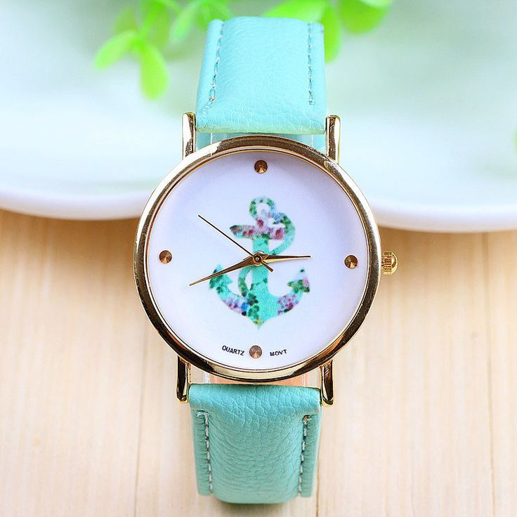 Anchor print face leather girl watch | Watches For Women ...