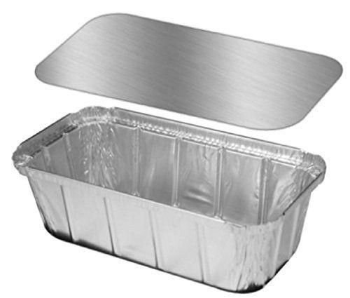 1 1 2 Lb Ivc Disposable Aluminum Foil Loaf Pan W Foil Board Lid