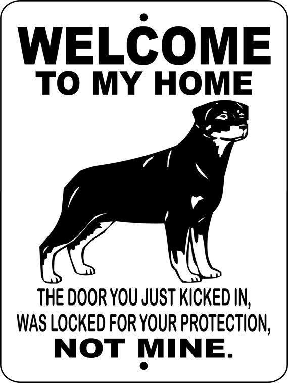 Rottweiler Dog Sign 9 X12 Aluminum Wtmhrot Rottweiler Dog