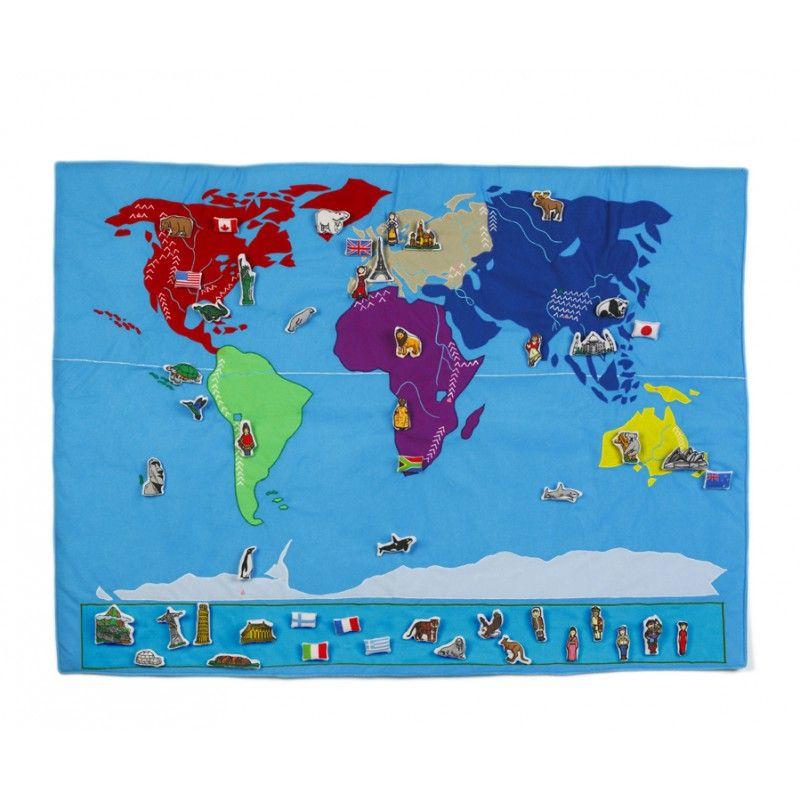 Weltkarte aus Stoff, oskar & ellen - Lillahopp