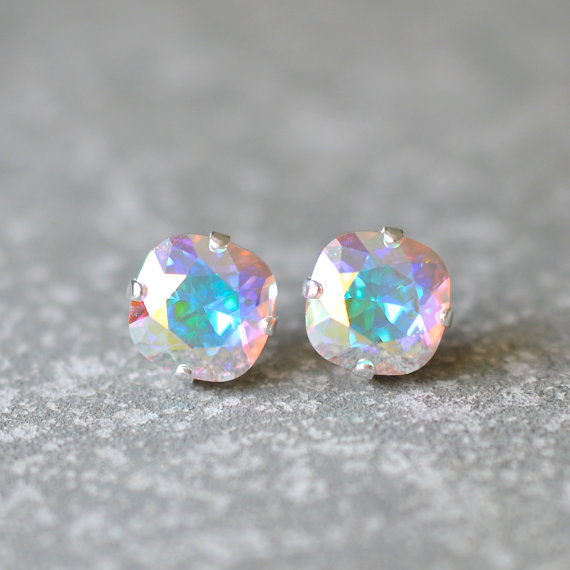 Our Signature Square Stud Earrings Rounded Swarovski Crystal Color Aurora Borealis Stone Size Roximately 10mm Or
