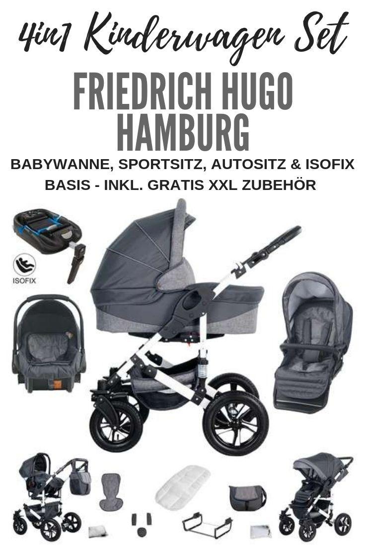 Friedrich Hugo Hamburg 4 In 1 Kombi Kinderwagen Isofix Luftreifen Farbe Grey Grey Linen Farbe Friedrich Baby Carrier Baby Strollers Baby Clothes