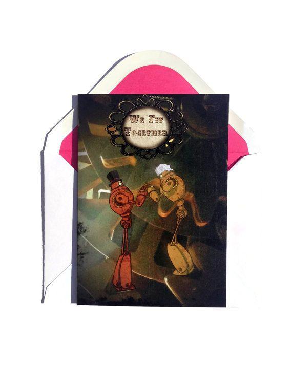 steampunk valentines card robot card dieselpunk card