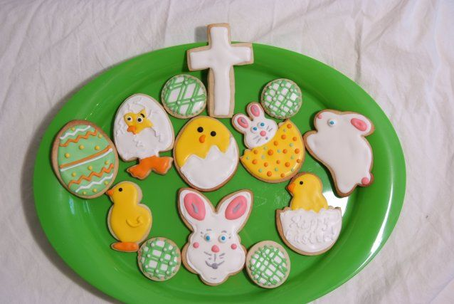 Chicks, Bunny, Easter Eggs - Decorated Sugar Cookies by I Am The Cookie Lady