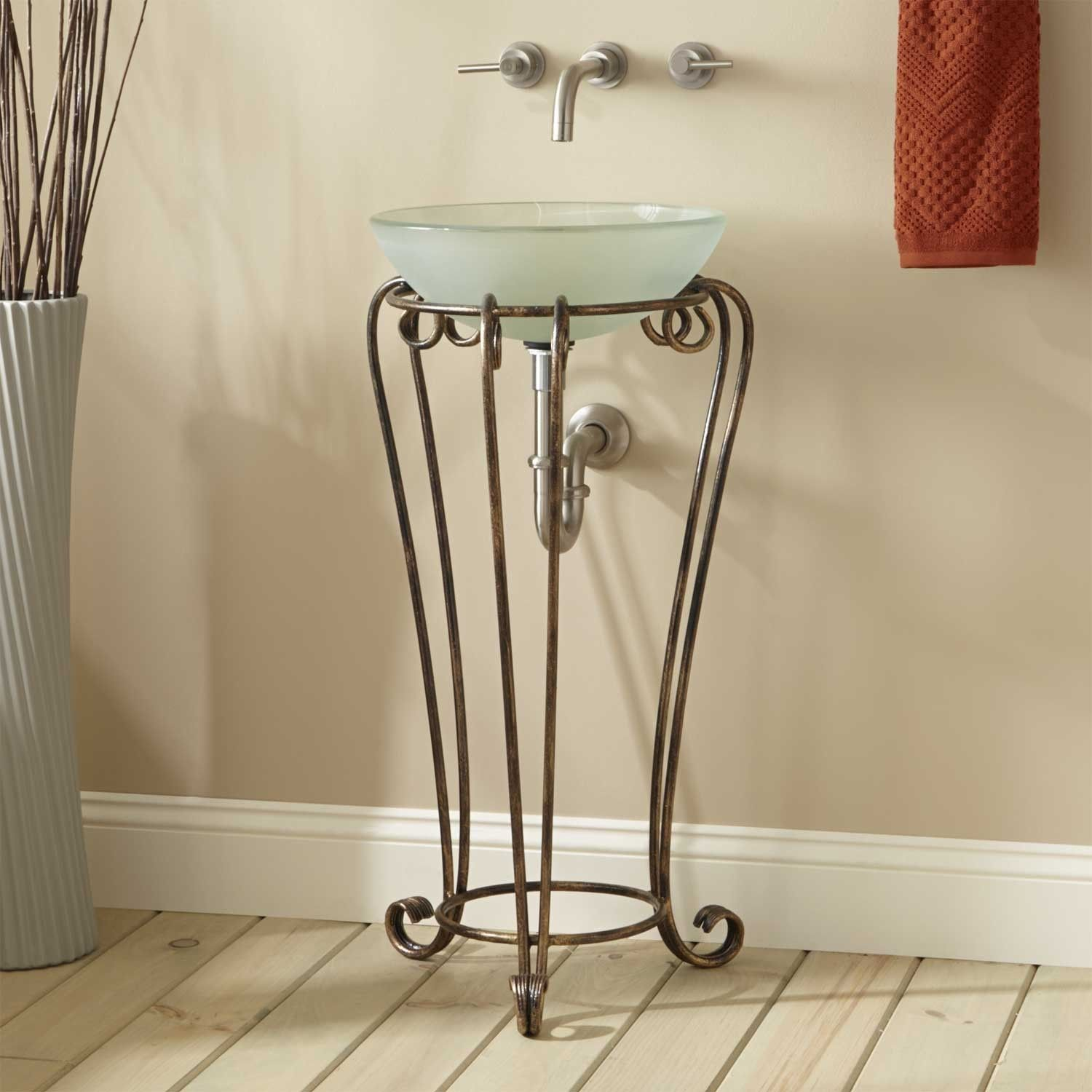 Altan Wrought Iron Vessel Sink Stand Bathroom Sinks Bathroom Bathroom Decor Luxury Wrought Iron Sink