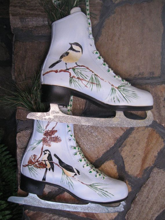Ice Skates...Up-cycled, Hand-Painted with Chickadees for your Winter Decor