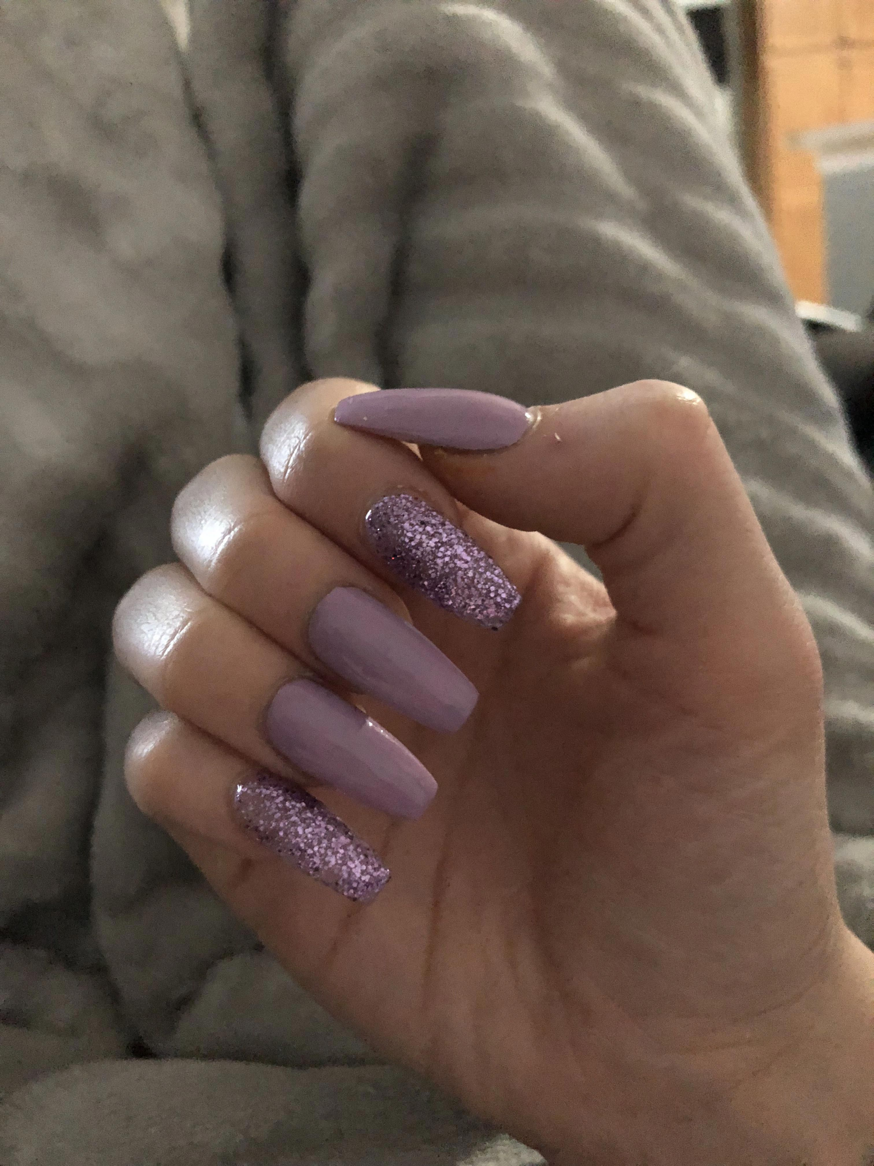 Pink And Purple Sparkles Or Glitter Nails Sparkly And Glittery Coffin Shaped Long Acr Sparkly Acrylic Nails Acrylic Nails Coffin Glitter Glitter Nails Acrylic