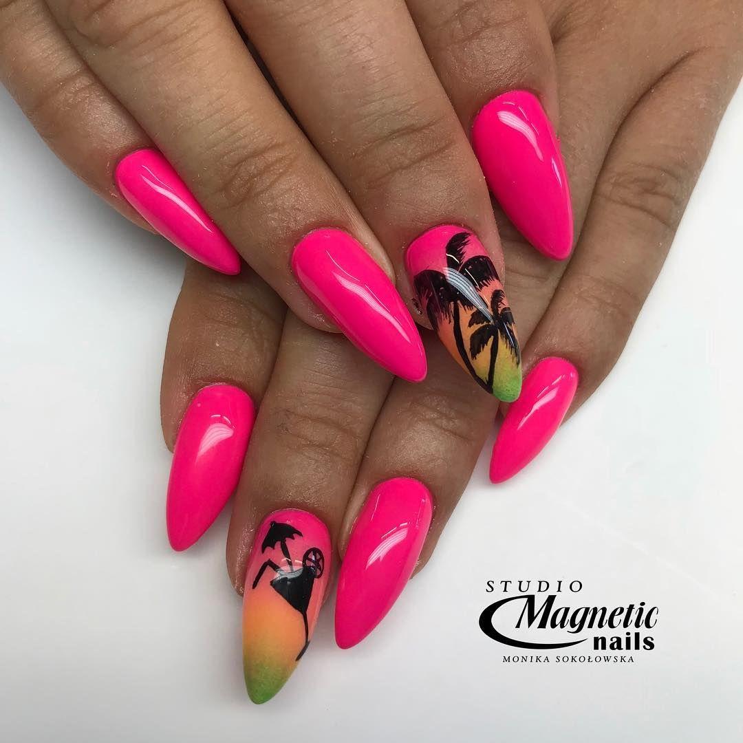 Neon Pink Spn Nailac Spnsalon Paznokcie Pazurki Nail Nails
