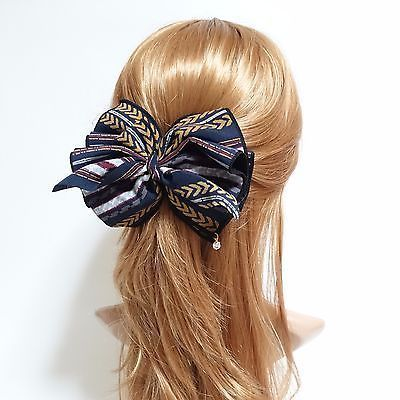Details about Handmade Arrow Stripe Printed Big Bow French Hair Barrette,  Details about Handmade Arrow Stripe Printed Big Bow French Hair Barrette,