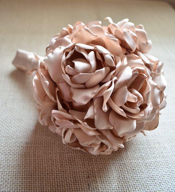 Fabric Bouquet - Medium Size Bouquet - Champagne Simple Flowers ...