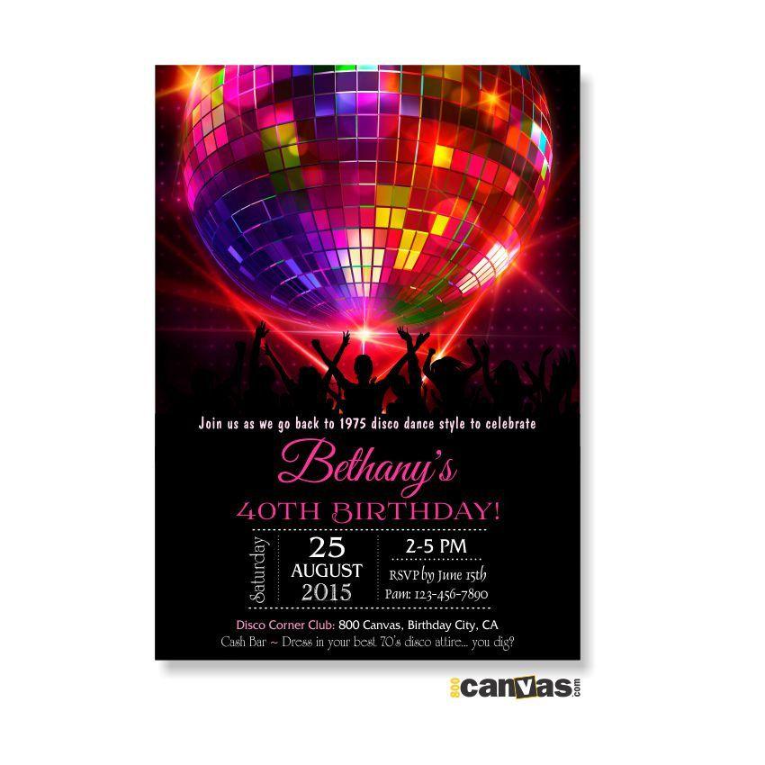 Disco Ball Birthday Invitation. Disco Dance Party Invites, Girls ...