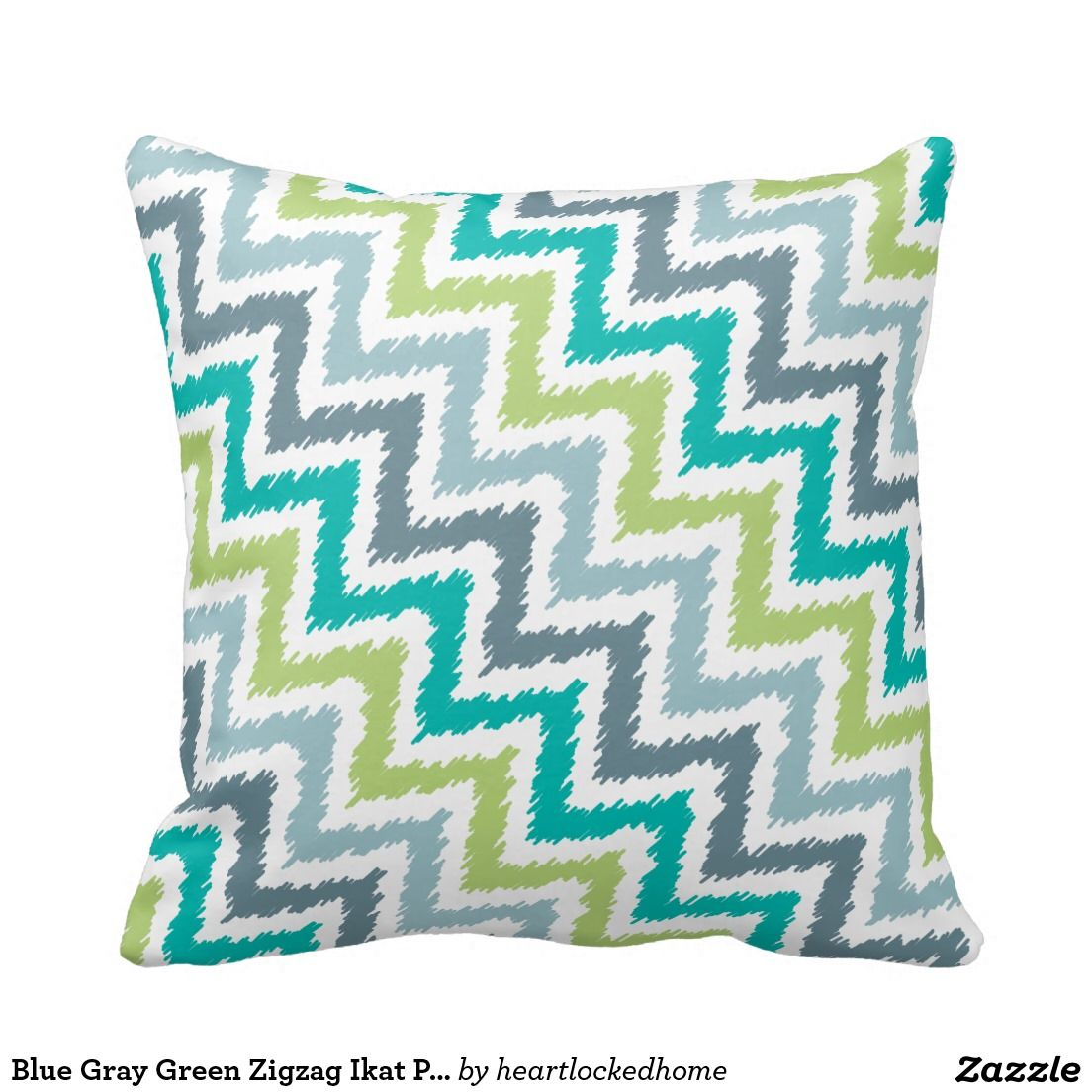 Blue gray green zigzag ikat pattern pillows green with envy