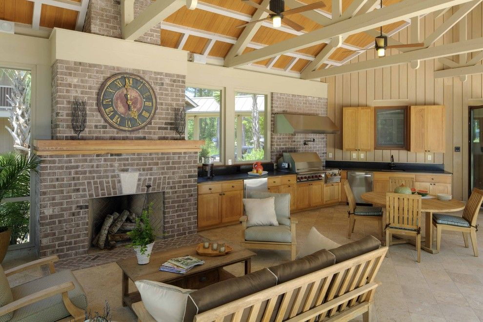 Transitional l shaped kitchen cabinets frederick frederick architects charleston outdoor living room with a full kitchen and fireplace