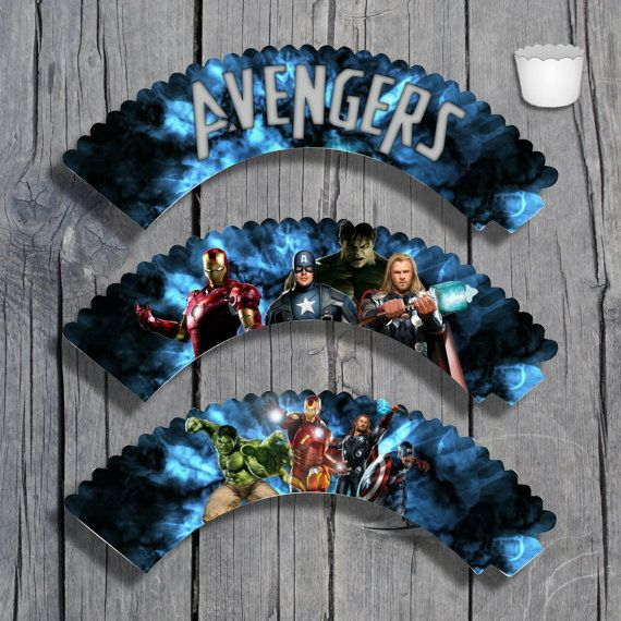 Avengers Cupcake Wrappers Set Printable by KeiraKloset on Etsy