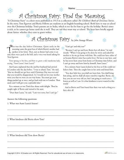 A Christmas Fairy Reading Comprehension Worksheet Free Reading  Comprehension Worksheets, Christmas Reading Comprehension, Reading  Comprehension