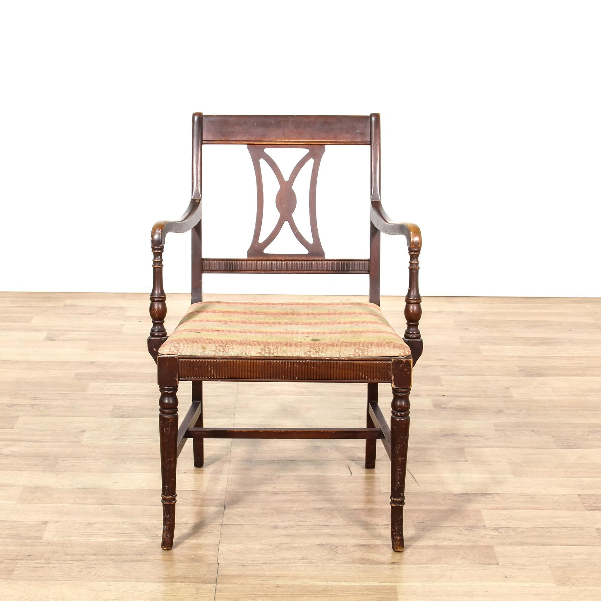 This Accent Chair Is Featured In A Solid Wood With A Glossy Walnut Finish This Traditional Style Armchair Has H Stretcher Wooden Chair Chair Vintage Furniture