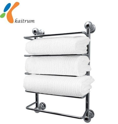 Multi Layer Wall Mount Chrome Finish Hotel Style Bathroom Towel