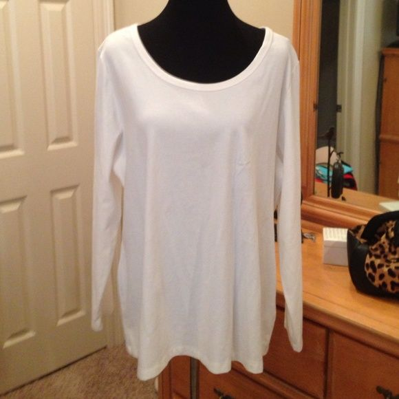 Style & Co Woman Shirt NWOT 2X Great layering piece or on it's own. White, long sleeved size 2X. Washed but not worn, too large. Style & Co Tops