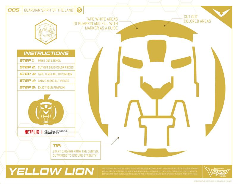 voltron yellow lion pumpkin stencil - Coloring Pumpkin Templates 2