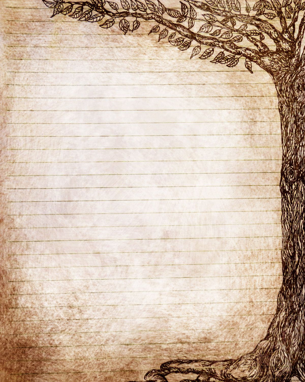 Vintage journal paper with tree drawing template pinterest