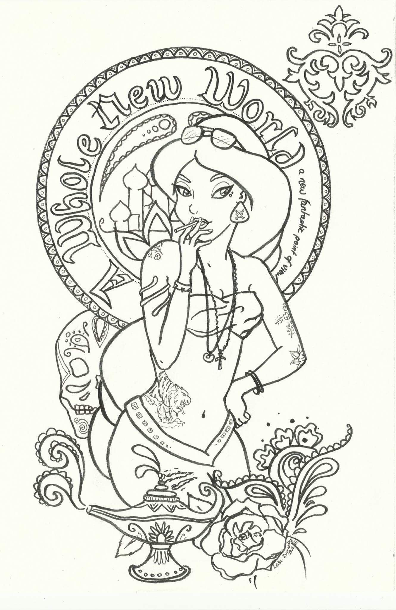 Pin by Melissa Perry on color pages | Princess jasmine ...