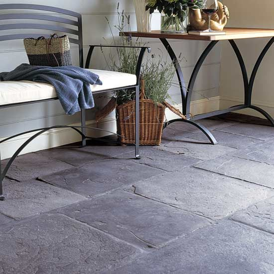 Love this natural stone flooring; especially with three dogs who love to  wrestle and run
