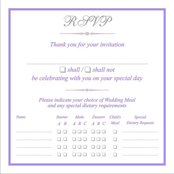 RSVP cards with menu choice, Menu Reply Cards, Menu Reponse Cards - best of invitation wording lunch to follow